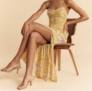 A&F Blushing Tiered Midi Dress Yellow